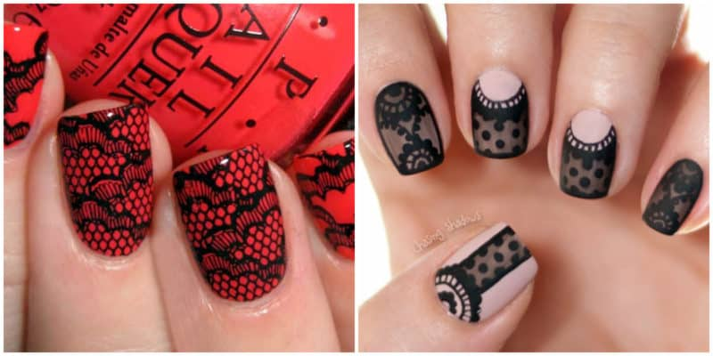 Short nail designs 2018: Nail designs with lace effect