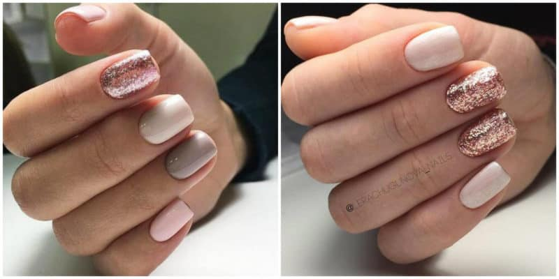 Short nail designs 2018: Nude nail color with glitters