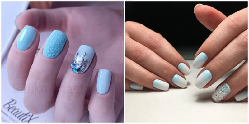 Short nail designs 2018: Light blue nail design: Blue and white nail design