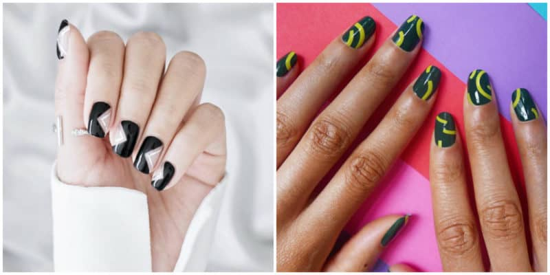 Spring nail colors 2020: Nail design with black, white and yellow nail polishes