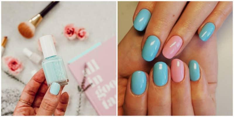 Spring nail colors 2020: Blue and pink nail design