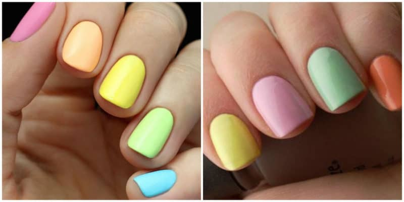Summer nail art 2019: Multi-color nail design with soft colors