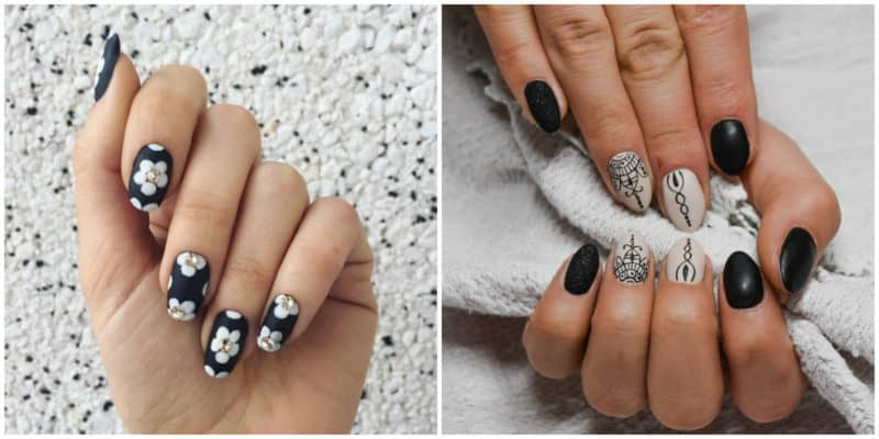 Summer nail art 2019: Black nail design with ornaments