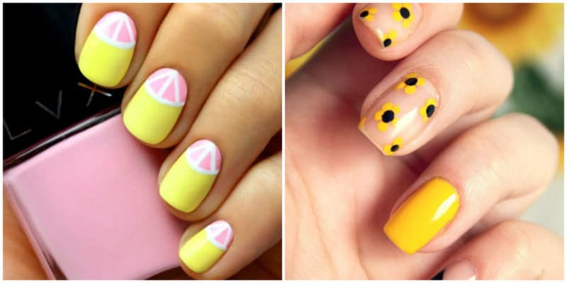 Summer nail art 2019: Yellow nail design