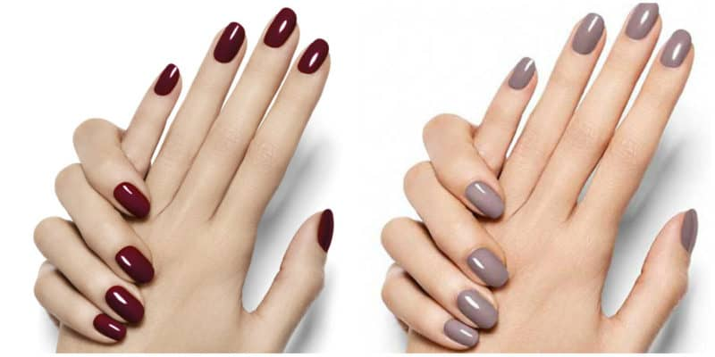 Winter nail colors 2020: Bordeaux and soft beige shades