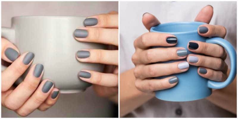 Winter nail colors 2020: Matte grey and sgades of blue and dark green