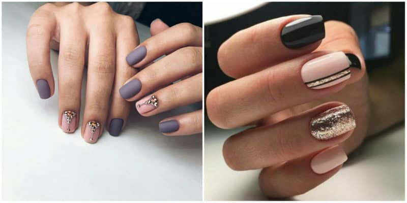 Winter nail colors 2020: nail design with glitters and rhinestones