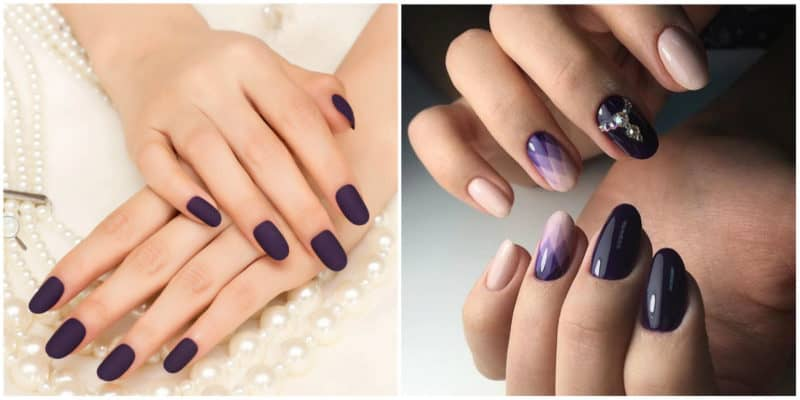 Winter nail colors 2020: Matte aubergine nail color and nail design with aubergine