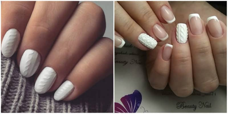 Winter nail colors 2020: White nail design with sweater ornaments