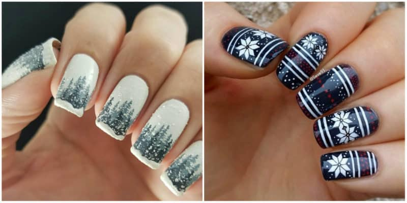 Winter nail colors 2020: Winter nail design with drawings and ornaments