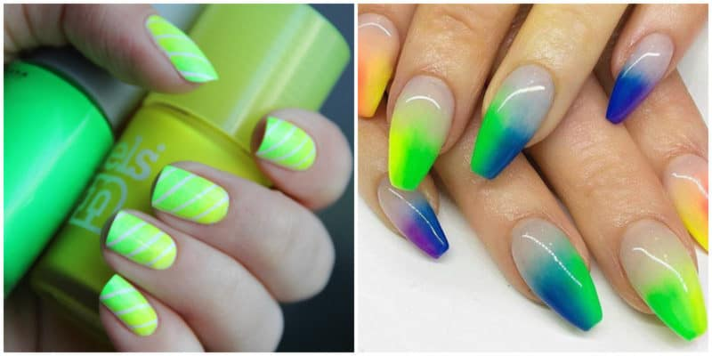 Nail trends 2019: Nail design with neon colors