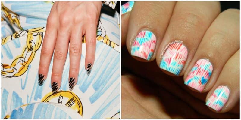 Nail trends 2019: Scribble printed nails