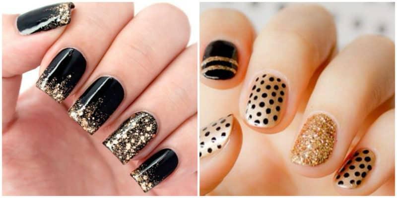 Nail trends 2019: Gold and black nail design