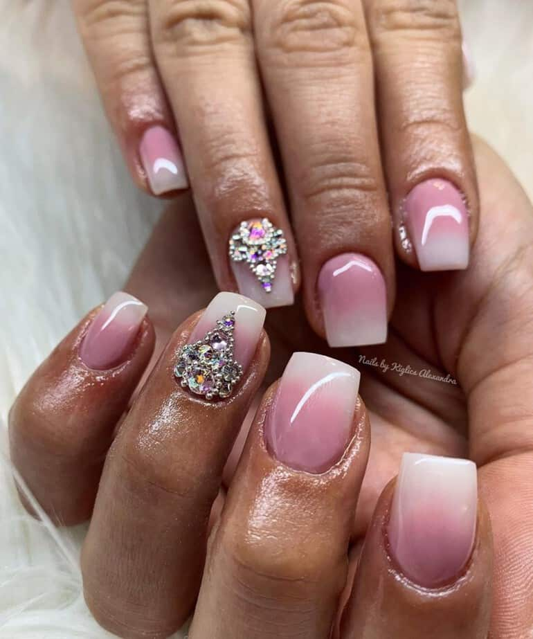 Wedding nails 2020 with diamantes and sparkles
